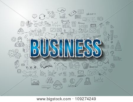 Business Success with Doodle design style :finding solution, brainstorming, creative thinking. Modern style illustration for web banners, brochure and flyers.