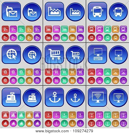 Sms, Graph, Bus, Web Cursor, Shopping Cart, Pc, Cash Register, Anchor, Monitor. A Large Set Of