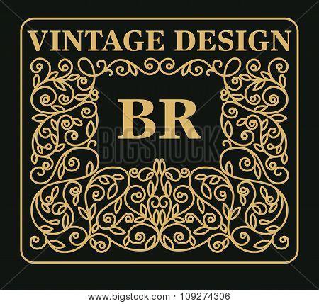 Vintage monogram design on dark background