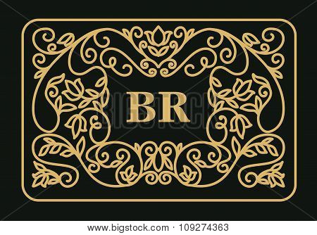 Vintage floral frame with copy space for text in trendy mono line style - monogram design element.