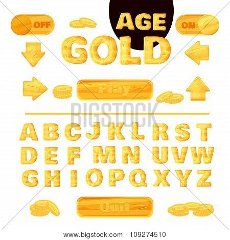 Colorful Gold Font For The Creation And Design Of Interface Of Mobile Games And Applications. Vector