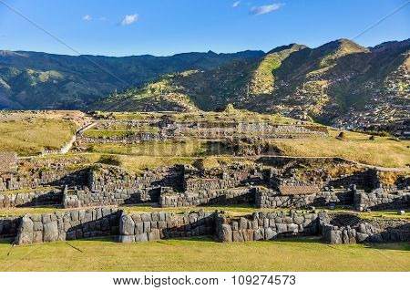 View Of The Ruins Of The Fortress Of Saqsaywaman In Cusco, Peru