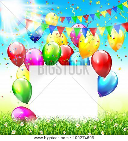 Celebration background with frame buntings balloons grass lawn c