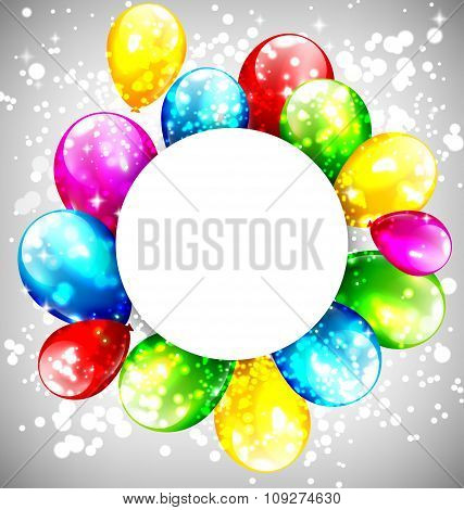 Multicolored inflatable balloons with circle frame on grayscale