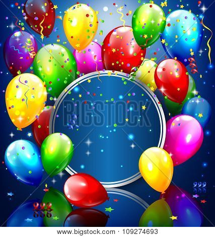 Multicolored inflatable balloons with circle frame and confetti