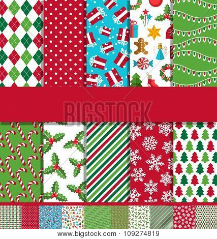 Set of 10 Seamless Bright Christmas Patterns
