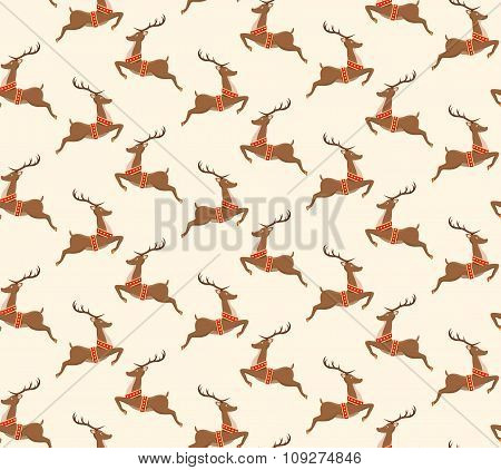 Seamless Christmas Pattern with Santa Reindeers Isolated on Beig