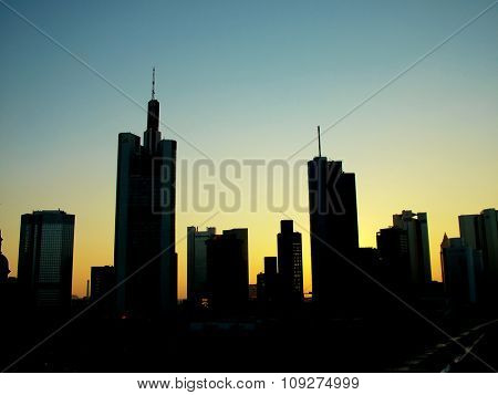 Downtown skyline at sunset