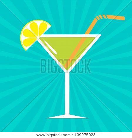 Cocktail In Martini Glass. Sunburst Background.