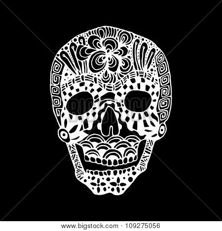 hand draw a skull zentangle trend patterns