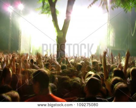 People on a concert. Euphoric and creazy people