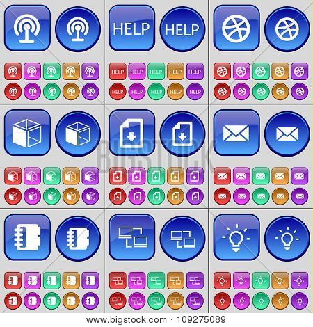 Wi-fi, Help, Ball, Box, File, Message, Notebook, Connection, Light Bulb. A Large Set Of Multi-