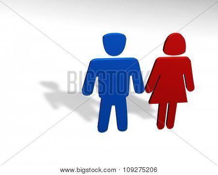 3D render of a man and woman. Powerful concept for marriage and love between sexes