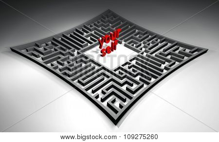 Find yourself in a maze. Powerful concept for personality - making your way