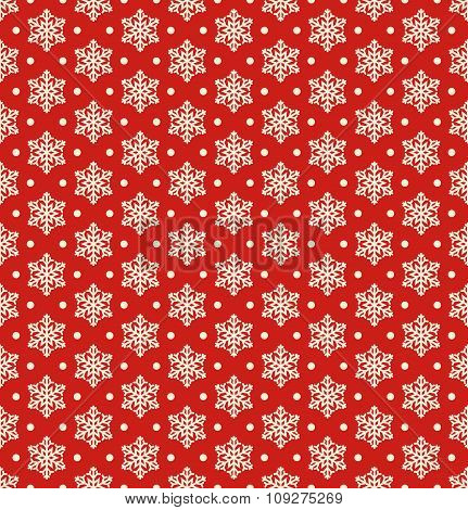 Seamless Christmas Winter Pattern with Snowflakes Isolated on Re