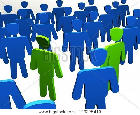 Angry men in crowd. Render of a people. Powerful concept for misunderstanding