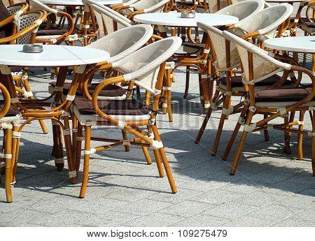 Chairs in  outdoor restaurant