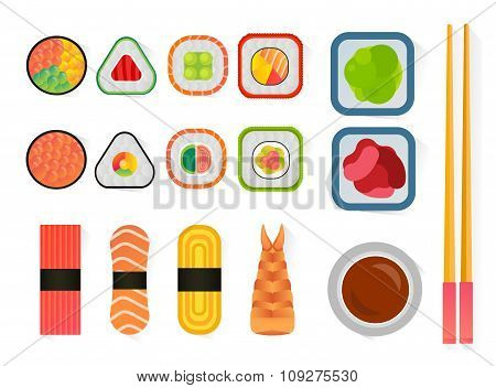 Vector sushi and rolls set isolated on white background