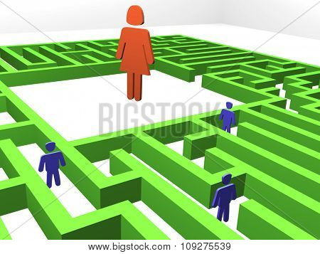 Maze. Men searching woman. 3D render of a maze - labyrinth.