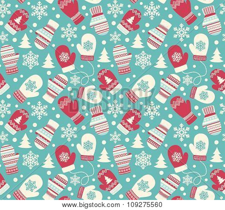 Seamless Winter Holidays Pattern with Mittens Gloves and Snowfla