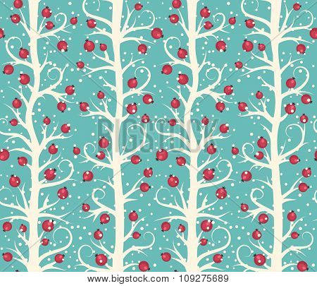 Abstract Seamless Christmas Winter Pattern with Berries on Trees