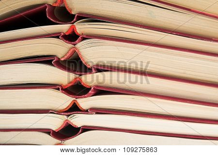Open Books. Isolated pile of open books