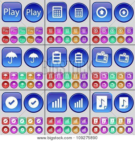 Play, Calculator, Arrow Up, Umbrella, Battery, Contact, Tick, Diagram, Note. A Large Set Of