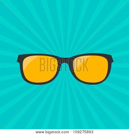 Glasses With Yellow Lens. Sunburst Background.
