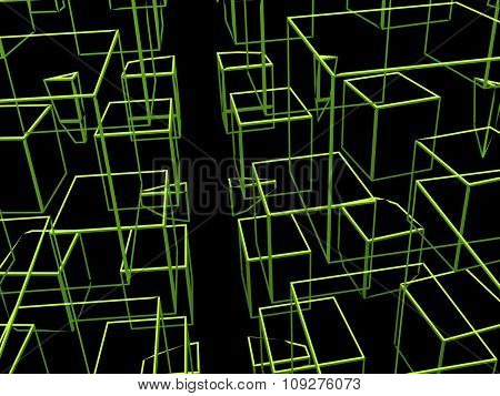 Squares in space. Rendered 3D space