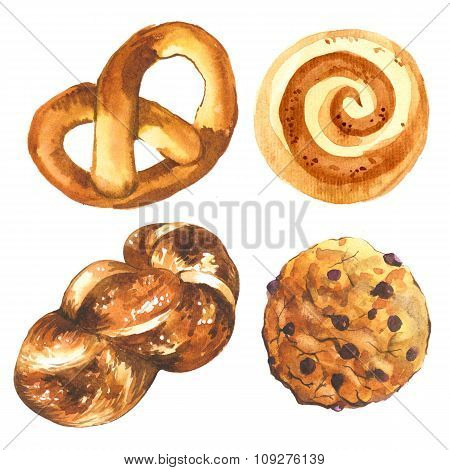 Illustration of bread and biscuits. Cinnamon roll ang american biscuit.