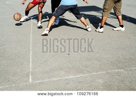 Street Basketball action. Basketball  players on the court