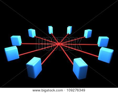 Computer network segment. Network topology scheme