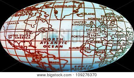 Simple world map. Map of world and focus on northern hemisphere