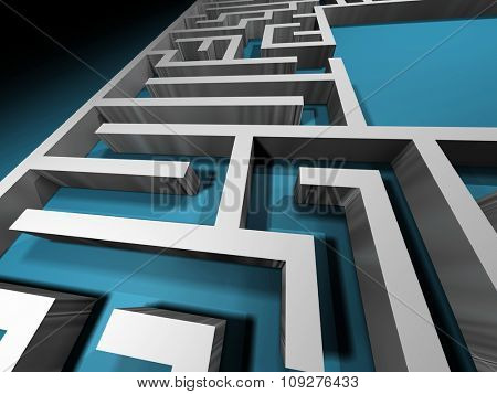 Labyrinth path. Abstract maze. 3D rendered puzzle