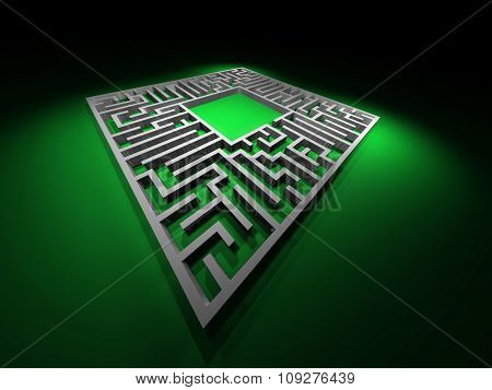 Labyrinth puzzle. Abstract maze paths. 3D render