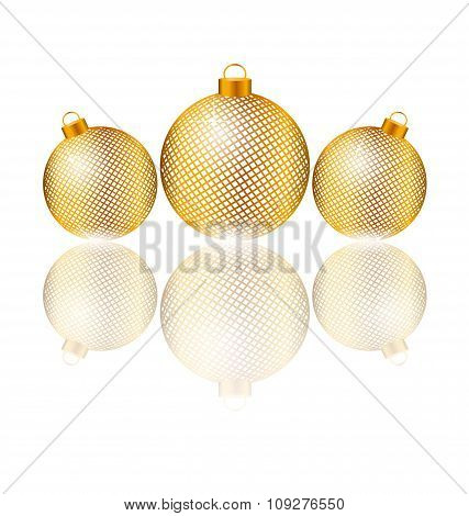 Christmas balls with reflection on white
