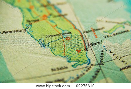 US map. Miami Florida map