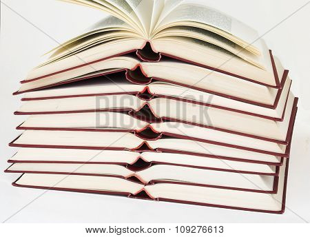 Books. Isolated pile of open  books