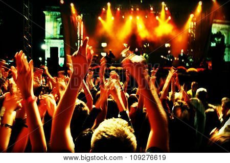 Crowd in blur at a rock concert. Crowd in long motion blur