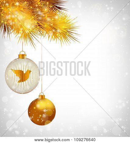 Christmas balls with bird and golden pine on grayscale