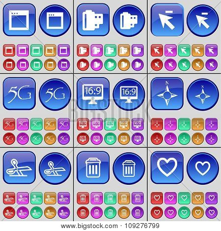Window, Negative Films, Cursor, 5G, Monitor, Compass, Scissors, Trash Can, Heart. A Large Set Of