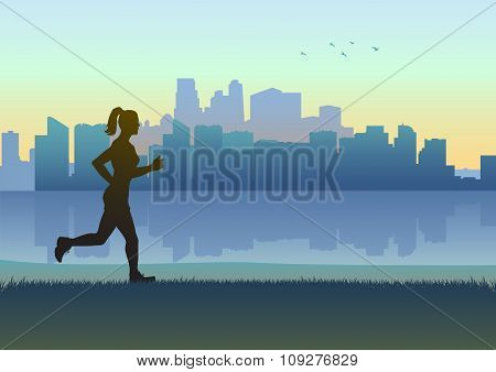 Silhouette illustration of a female figure jogging with cityscape as the background