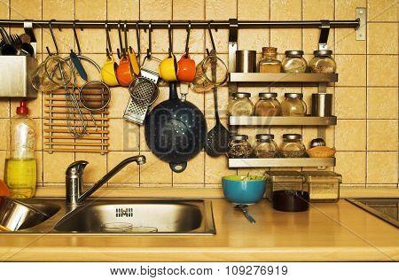 Kitchen objects. Busy everyday kitchen