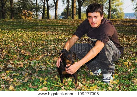 High saturated fall nature and boy with dog