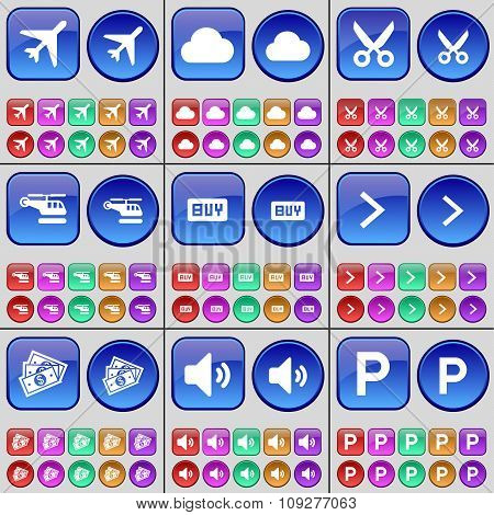Airplane, Cloud, Scissors, Helicopter, Buy, Arrow Right, Money, Sound, Parking. A Large Set Of
