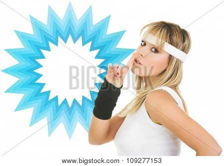 young woman silence gesture. Woman advertising generic product