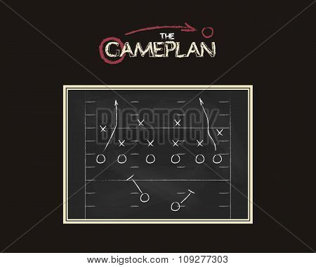 American football field background with game plan blackboard. Chalkboard unusual design. Sports tact