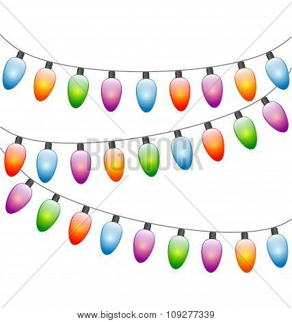 led Christmas lights isolated on white