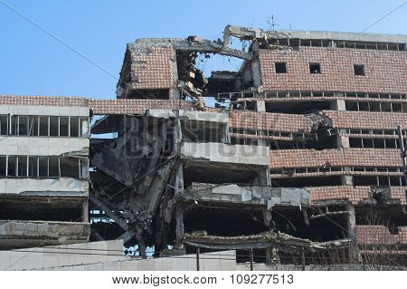 Bombed and abandoned  building of war.  Architecture ruins and destruction