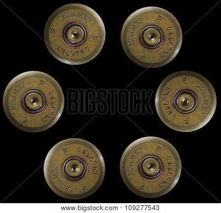 Shotgun bullets in pistol bullet formation. War concept